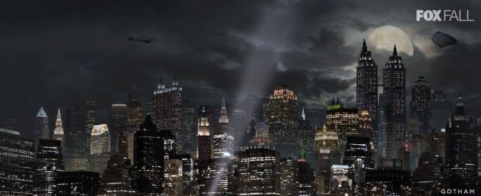 Vista de la ciudad de Gotham, con el edificio de Wayne Enterprises presidiendo el skyline