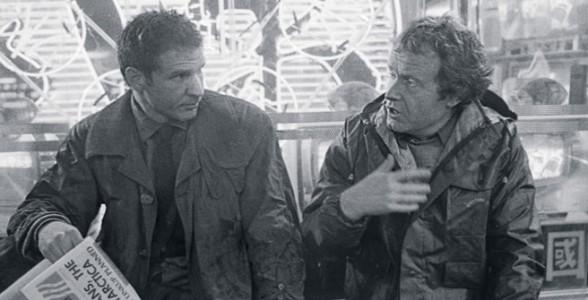Ridley Scott junto a Harrison Ford en el set de rodaje de Blade Runner. Foto: Cinemanía