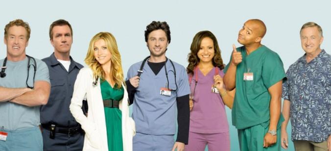 De derecha a izquierda: Doctor Cox, El conserje, Elliot, J.D., Carla, Turk y el doctor Kelso. Foto: ABC.com